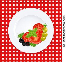 płyta, oliwki, zioła, świeży, biały, pomidory