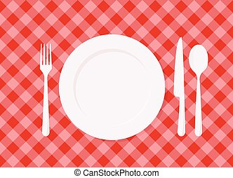 płyta, tablecloth, klatkowy, czerwony, opróżniać