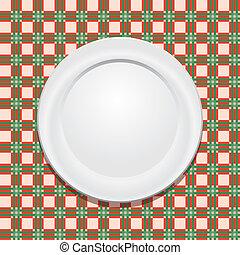 płyta, tablecloth, wektor, piknik, opróżniać
