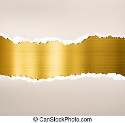 płyta, złoty, porwany, metal, papier, tło