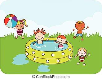 pływacki, dzieci, szczęśliwy