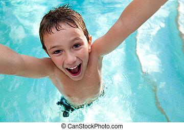 pływacki, radosny, kałuża, koźlę