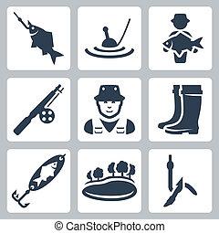 pływak, fish, pręt, ikony, wielka ryba, czyścibut, glista, spoon-bait, rybak, jezioro, wektor, wędkarski, brodzący, hak, hak, set: