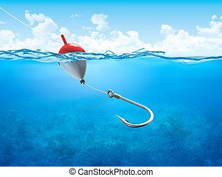 pływak, podwodny, pionowy, hak, żyłka wędkarska