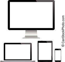 p, hydromonitor, nowoczesny, komputer, laptop