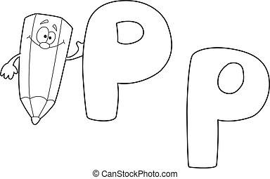 p, konturowany, zielony, litera, ołówek