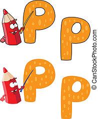 p, litera, ołówek