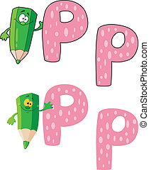 p, zielony, litera, ołówek