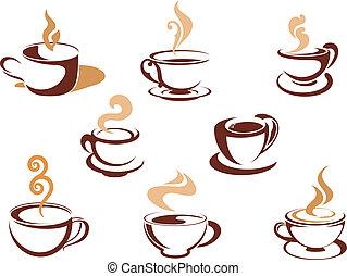 pachnący, filiżanki kawy