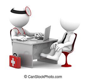 pacjent, biuro, doktor, medyczny, mówiąc, consultation.