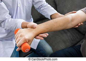pacjent, concept., pracujący, fizyczny, fizykoterapeuta, ruch, terapia