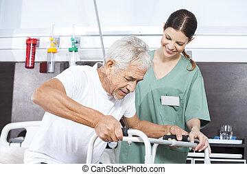 pacjent, istota, wsparty, samica, piechur, używając, pielęgnować, senior