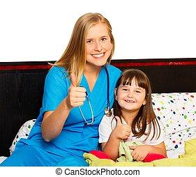 pacjent, mały, kciuki do góry