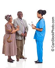 pacjent, medyczny, młody, starszy, afrykanin, pielęgnować, para