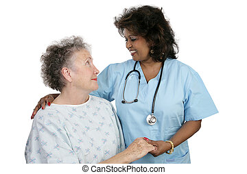 &, pacjent, pielęgnować
