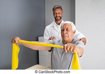 pacjent, terapia, bandy, fizyczny, fizjoterapia, używając
