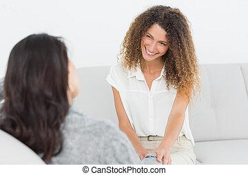 pacjent, uśmiechanie się, jej, terapeuta