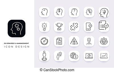 pack., &, ikona, kierownictwo, sztuka, kreska, niezupełny, strategia