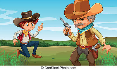 pagórek, stary, młody, kowboj