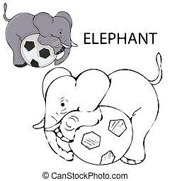 page., niemowlę, sztuka, ilustracja, konturowany, elephant., wektor, kolorowanie, kreska