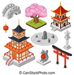 pagoda, miasto, japończyk, isometric, most, odizolowany, ikony, świątynia, ilustracja, 3d, wektor, rysunek, orientalny, punkt orientacyjny, japonia, dom, podróż, biały