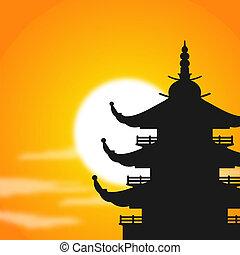 pagoda, sylwetka, zmierzch