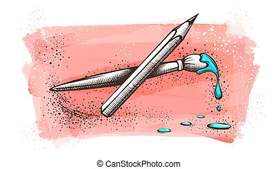 painted., artysta, ołówek, watercolor szczotka