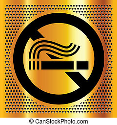 palenie, symbol, tło, złoty, nie