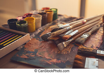 paleta, nafta, kąt, gwasz, malatura, fotografia, kredki, komplet, paintbrushes, mieszany, sztuka, prospekt, studio.