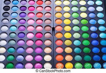 paleta, oko, set., multicolor, charakteryzacja, profesjonalny, cień