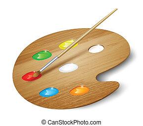 paleta, sztuka, drewniany, malatura, wektor, brush.