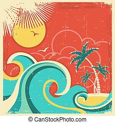 palms., struktura, tropikalny, papier, stary, tło, morze, wyspa, wektor, afisz, rocznik wina