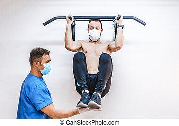pandemiczny, coronavirus, fizjoterapia, terapeutyczny, ochronny, terapeuta, pull-up., bardzo, trudny, osteopatia, miary, covid-19., fizyczny, shirtless, pacjent, chiromassage