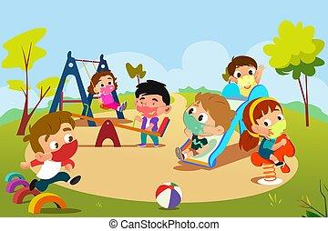 pandemiczny, plac gier i zabaw, interpretacja, dzieci, ilustracja, podczas