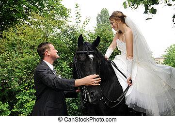 panna młoda, ślub, szambelan królewski, grzbiet koński