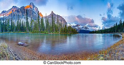panorama, jezioro, łuk
