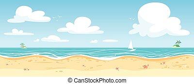 panorama., morze, seamless, wektor, ilustracja