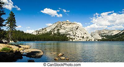 panorama, narodowy park, jezioro tenaya, yosemite
