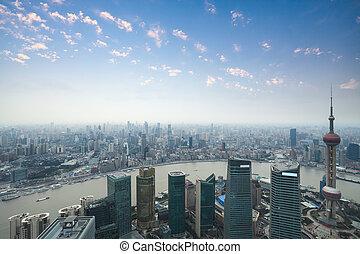 panorama, szanghaj, zmierzch