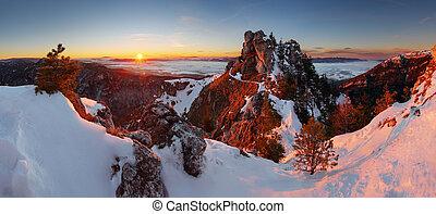 panoramiczny, krajobraz, slovakia, zima, góra
