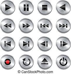 panowanie, multimedia, komplet, icon/button