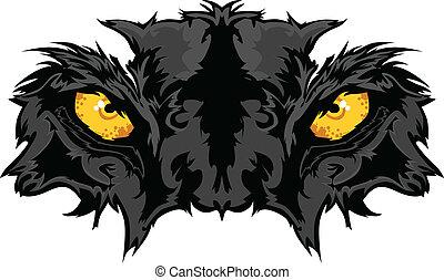 pantera, oczy, maskotka, graficzny