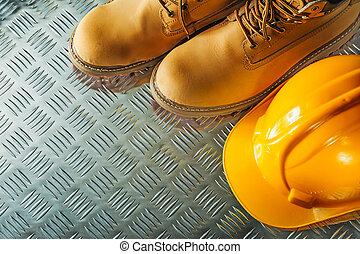 panwiowy, listek, twardy, metal, czyścibut, bezpieczeństwo, kapelusz