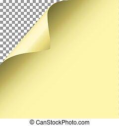 paper., żółty, vector., róg, ufryzować, strona