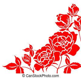 paper-cut, kwiat, chińczyk, piwonia