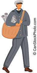 paperboy, rysunek, unifrom., kolor, employee., samiec, litera, biały, illustration., płaski, rocznik wina, odizolowany, biuro, gazety, pracownik, ubrany, tło, poczta, tradycyjny, wektor, służba