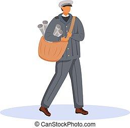 paperboy, rysunek, unifrom., kolor, employee., samiec, stary kształtowany, illustration., litera, biały, płaski, odizolowany, biuro, gazety, pracownik, ubrany, tło, poczta, tradycyjny, wektor, służba