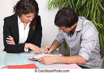 paperwork, jej, kobieta interesu, porcja, klient, napełniać