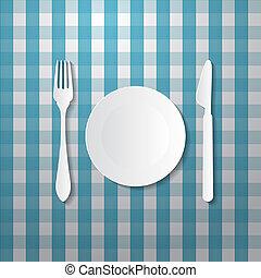 papier, błękitny, nóż, płyta, widelec, robiony, tablecloth