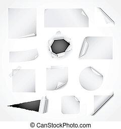 papier, biały, wystawiany zamiar, elementy